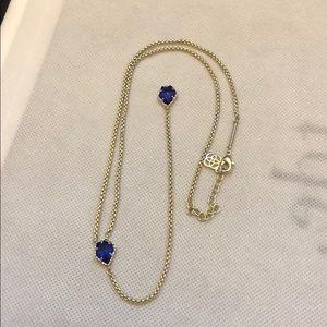 Kendra Scott gold and blue lariat Mason necklace